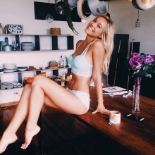alexis ren underwear on a desk